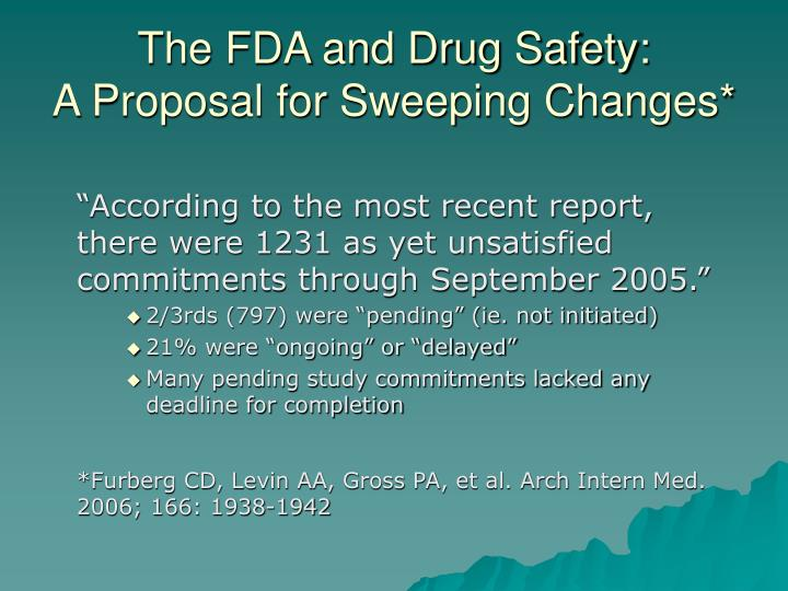The FDA and Drug Safety: