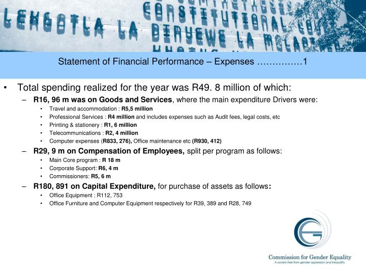 Statement of Financial Performance – Expenses ……………1