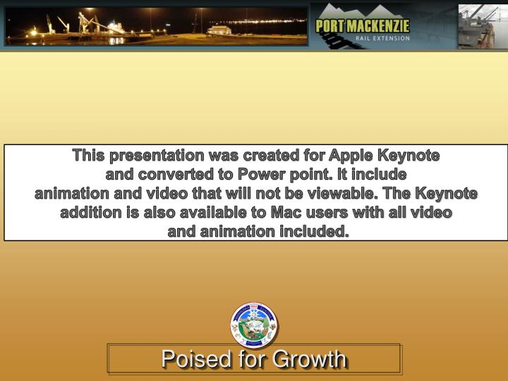 This presentation was created for Apple Keynote