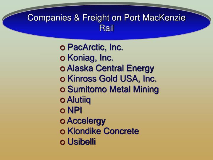 Companies & Freight on Port MacKenzie Rail