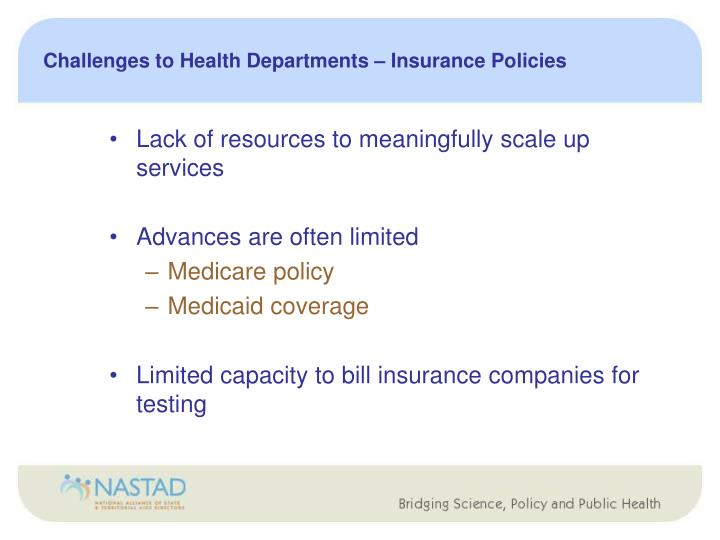 Challenges to Health Departments – Insurance Policies