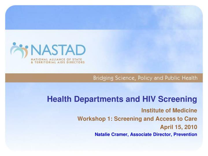 Health departments and hiv screening