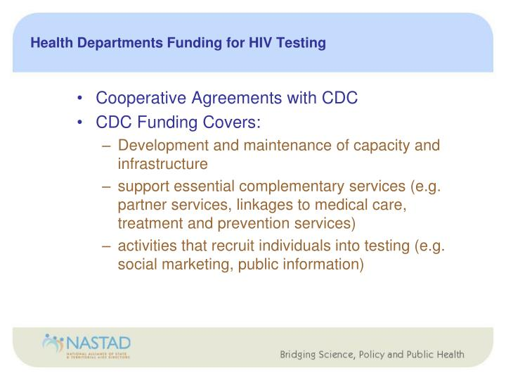 Health Departments Funding for HIV Testing