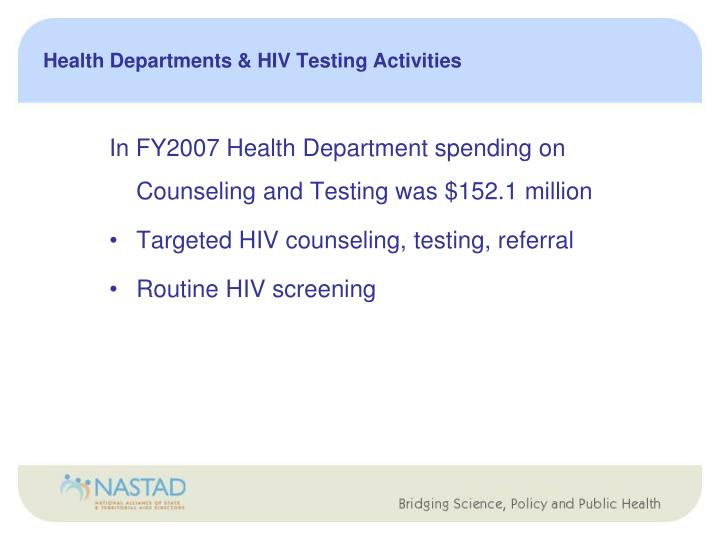 Health Departments & HIV Testing Activities