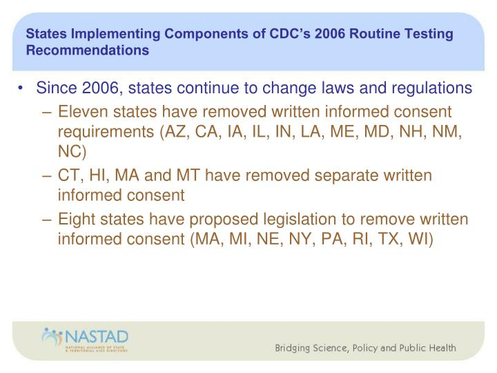 States Implementing Components of CDC's 2006 Routine Testing Recommendations