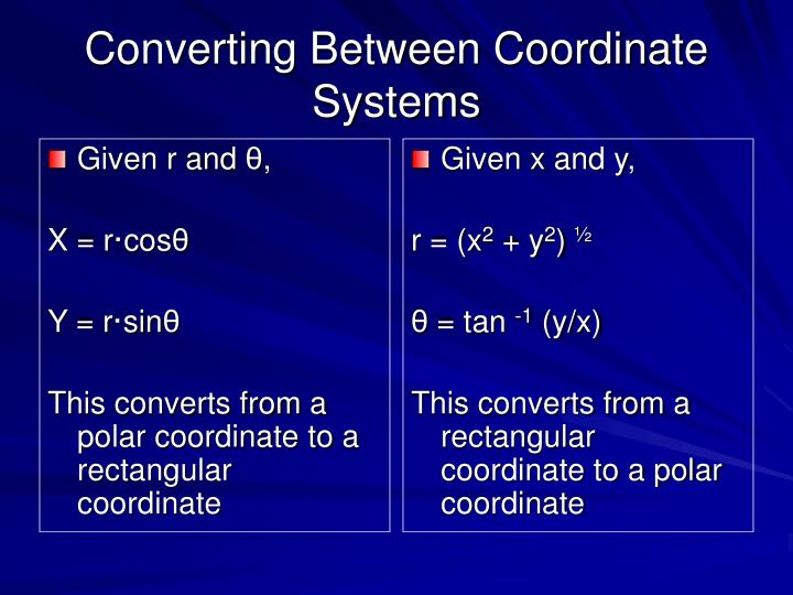 Converting between coordinate systems