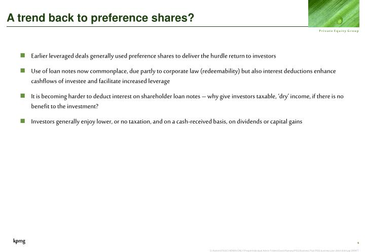 A trend back to preference shares?