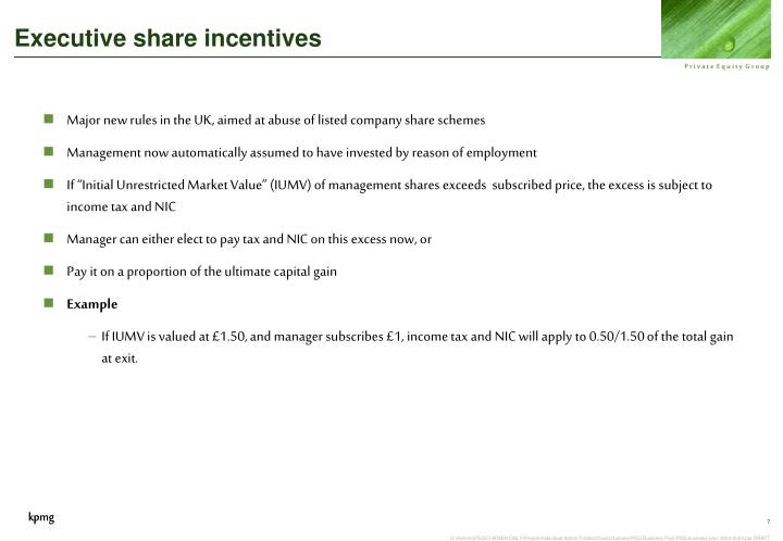 Executive share incentives