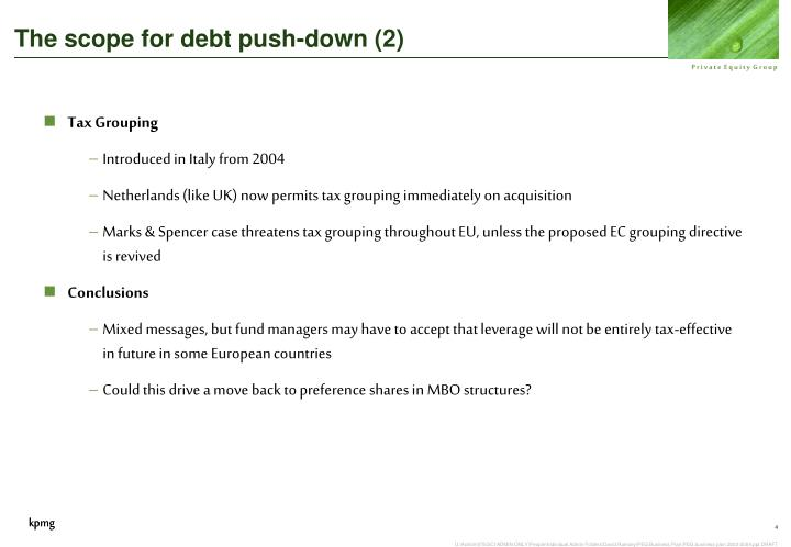 The scope for debt push-down (2)