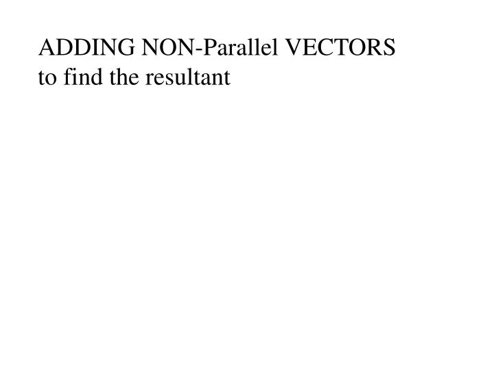 ADDING NON-Parallel VECTORS