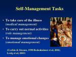 self management tasks
