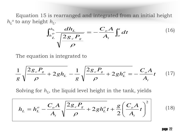 Equation 15 is rearranged and integrated from an initial height