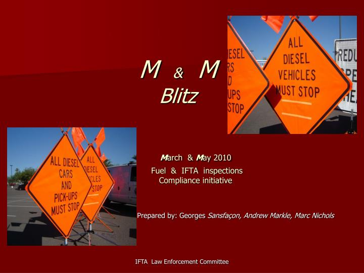 M m blitz m arch m ay 2010 fuel ifta inspections compliance initiative