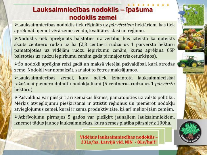 Vidējais lauksaimniecības nodoklis – 33Ls/ha, Latvijā vid. NĪN  - 8Ls/ha!!!