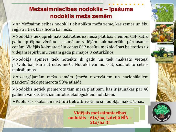 Vidējais mežsaimniecības nodoklis – 6Ls/ha, Latvijā NĪN – 2Ls/ha !!!