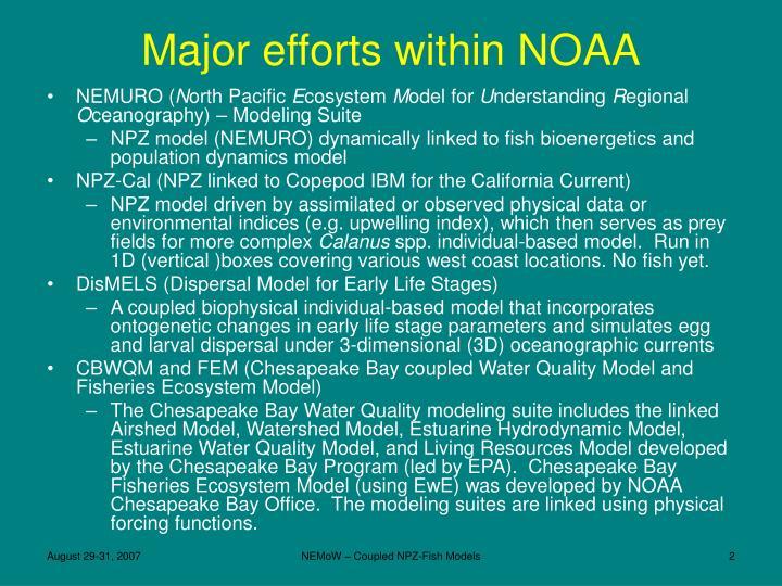 Major efforts within noaa