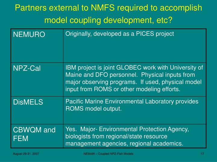 Partners external to NMFS required to accomplish model coupling development, etc?