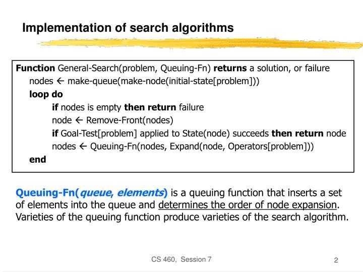 Implementation of search algorithms