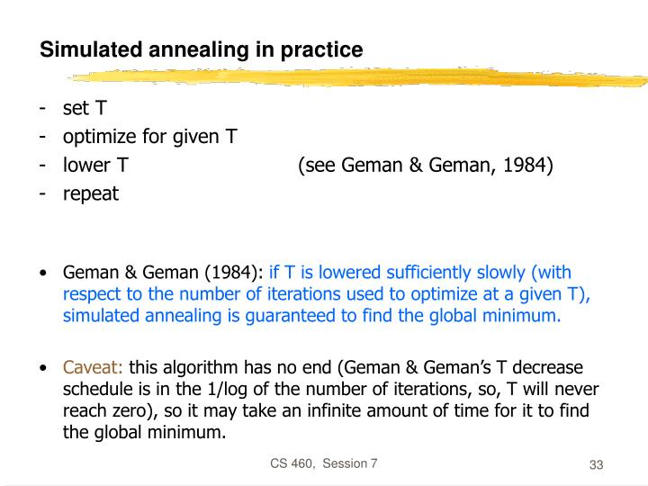 Simulated annealing in practice