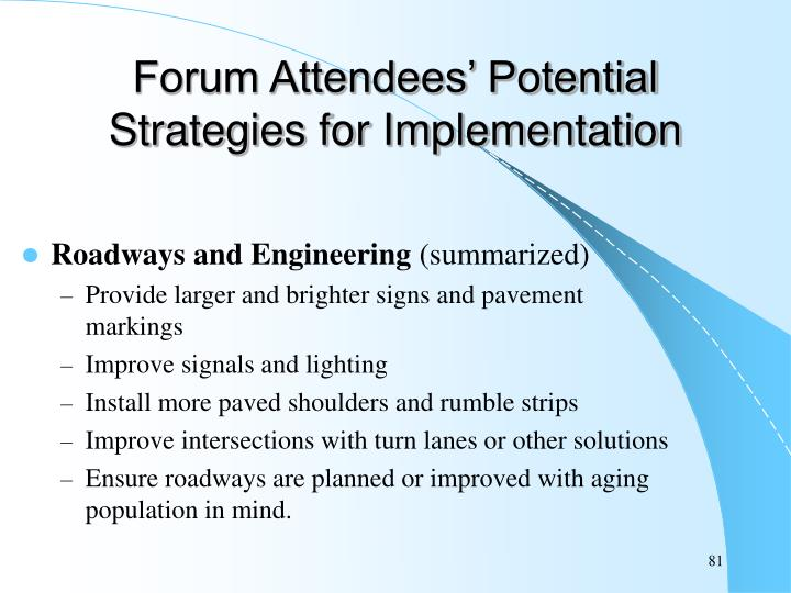 Forum Attendees' Potential Strategies for Implementation