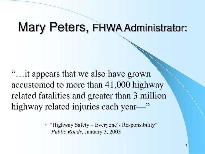 Mary peters fhwa administrator