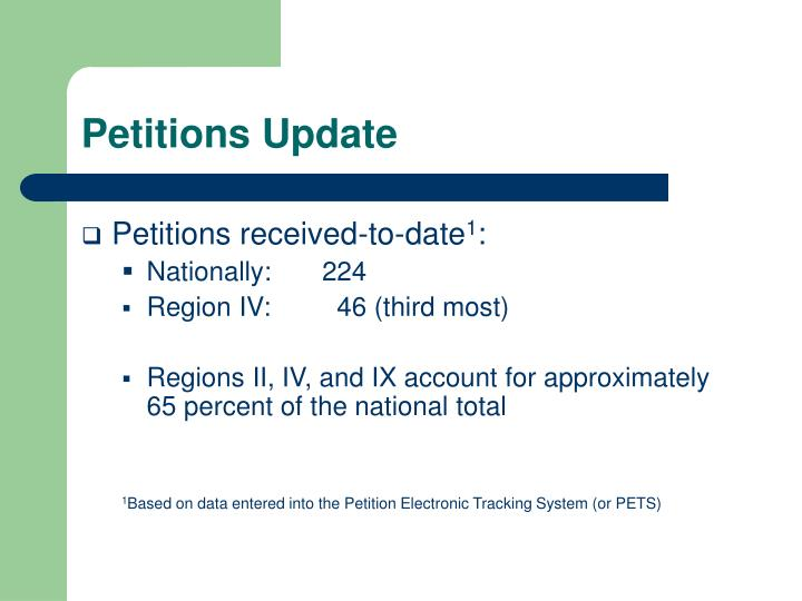 Petitions update