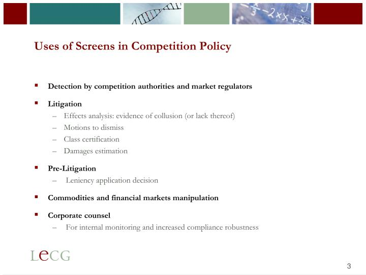 Uses of screens in competition policy