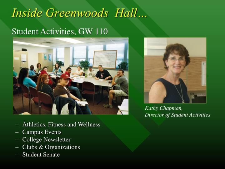 Inside Greenwoods  Hall…