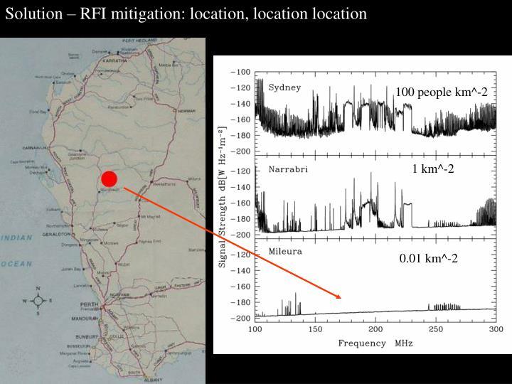 Solution – RFI mitigation: location, location location