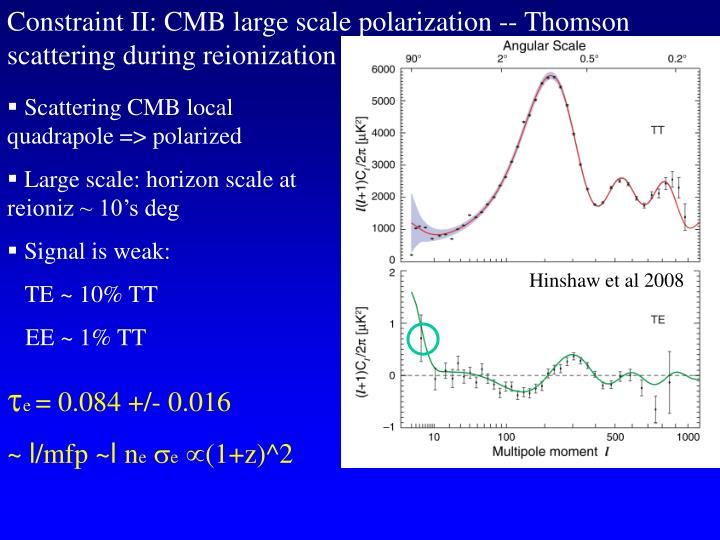 Constraint II: CMB large scale polarization -- Thomson scattering during reionization