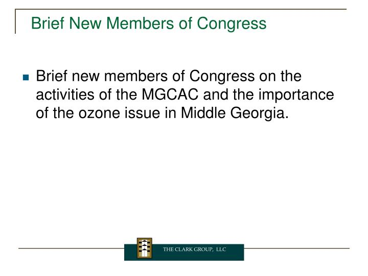 Brief New Members of Congress