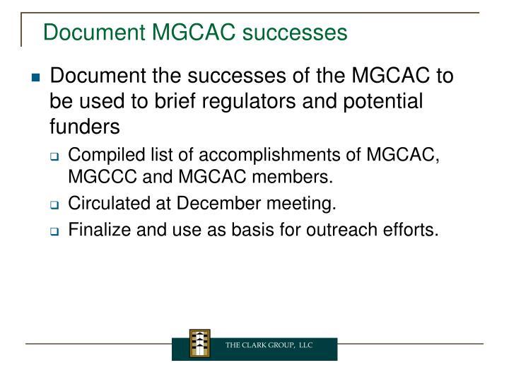 Document MGCAC successes