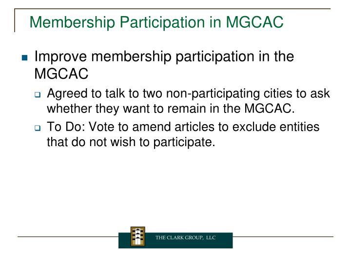 Membership Participation in MGCAC