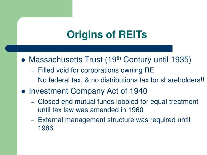 Origins of reits