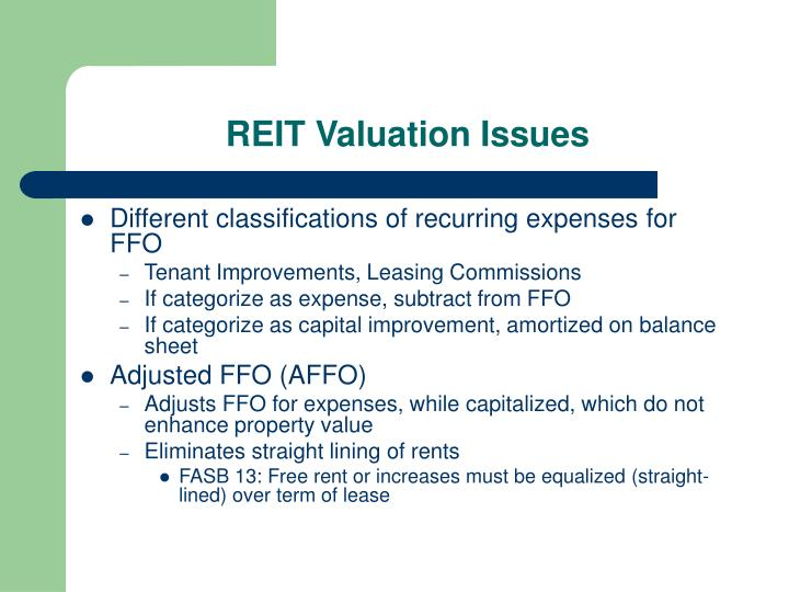 REIT Valuation Issues