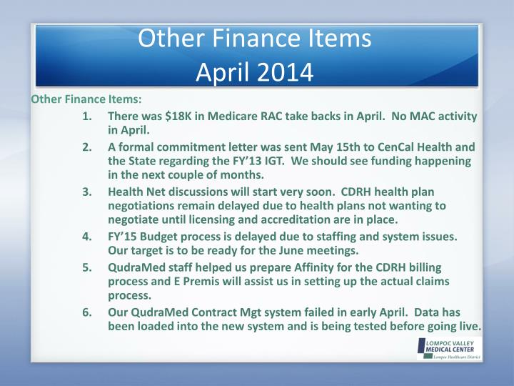 Other Finance Items