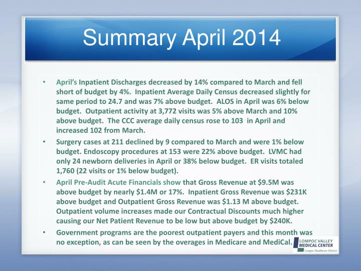 Summary April 2014