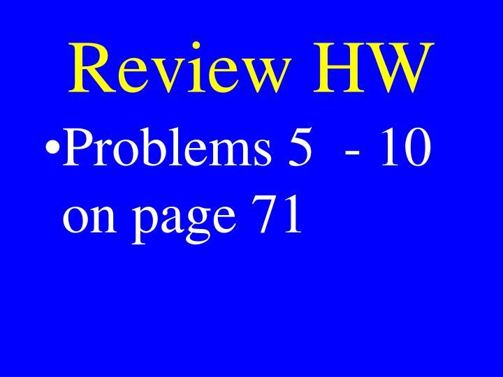 Review HW