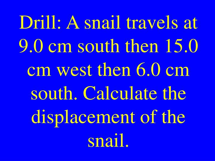 Drill: A snail travels at 9.0 cm south then 15.0 cm west then 6.0 cm south. Calculate the displacement of the snail.