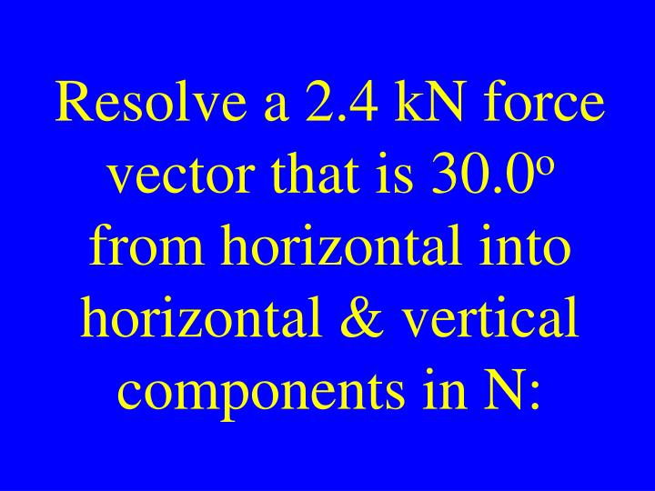 Resolve a 2.4 kN force vector that is 30.0