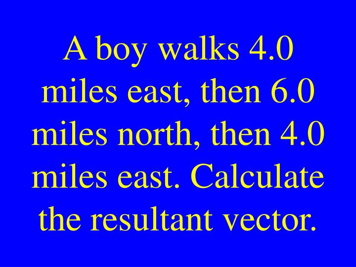 A boy walks 4.0 miles east, then 6.0 miles north, then 4.0 miles east. Calculate the resultant vector.