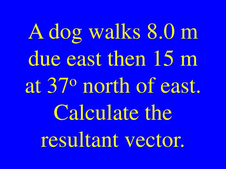 A dog walks 8.0 m due east then 15 m at 37