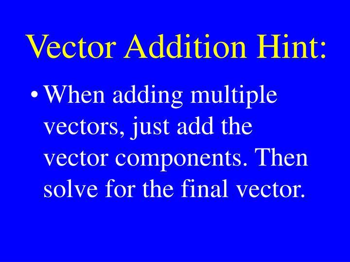 Vector Addition Hint: