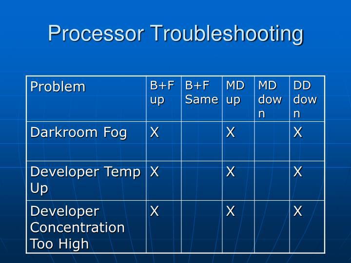 Processor Troubleshooting