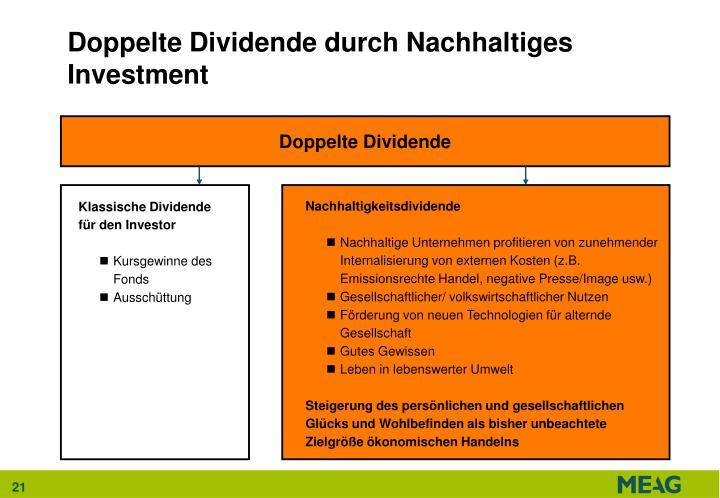 Doppelte Dividende durch Nachhaltiges Investment