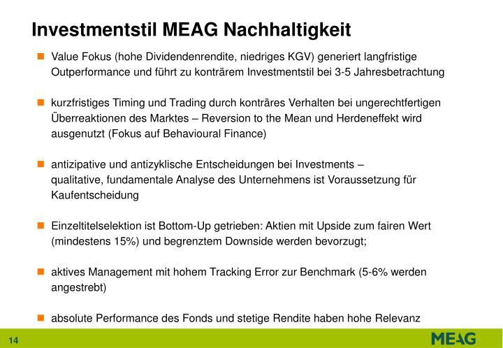 Investmentstil MEAG Nachhaltigkeit