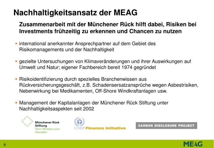 Nachhaltigkeitsansatz der MEAG