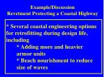 example discussion revetment protecting a coastal highway