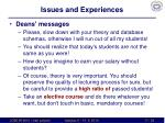 issues and experiences