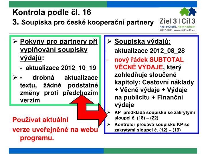 Kontrola podle čl. 16